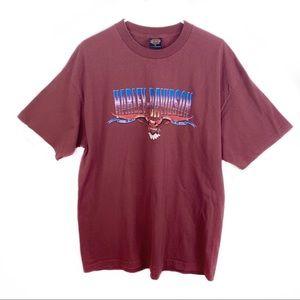 Harley Davidson Burgundy Short Sleeve Shirt XL